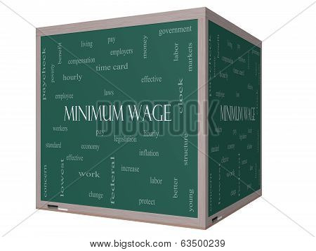 Minimum Wage Word Cloud Concept on a 3D cube Blackboard with great terms such as pay laws hourly workers and more. poster