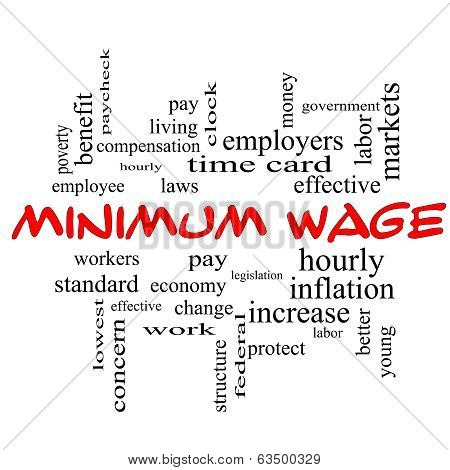 Minimum Wage Word Cloud Concept in red caps with great terms such as pay laws hourly workers and more. poster