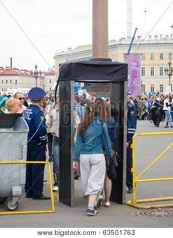 Metal Detectors At Palace Square, St. Petersburg
