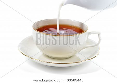 Serving Cup Of Tea With Milk.
