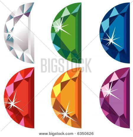 Half moon cut precious stones with sparkle