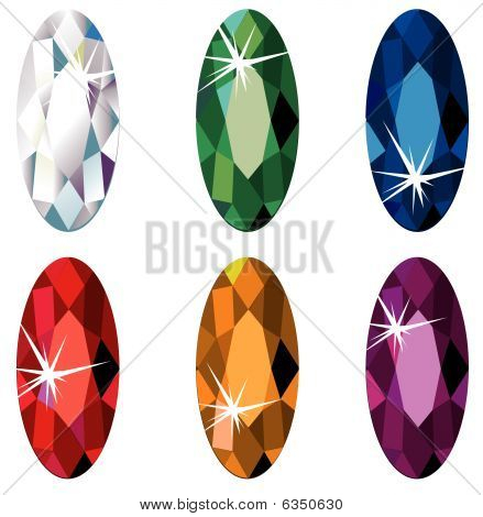 Marquise cut precious stones with sparkle