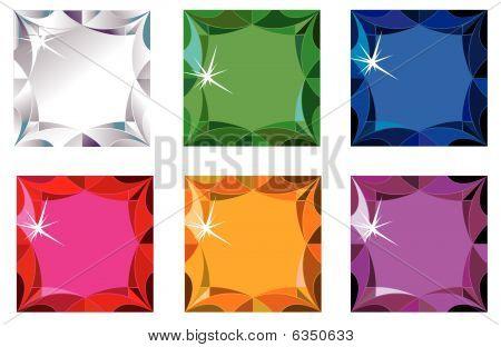 Princess cut precious stones with sparkle