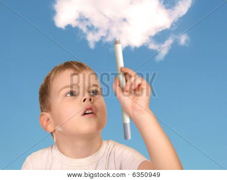 Boy Drawing Cloud Collage