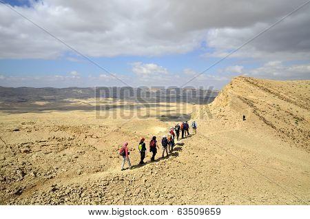 Hikers In Negev Desert.