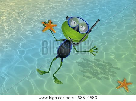 illustration of a frog that makes diving in the sea poster