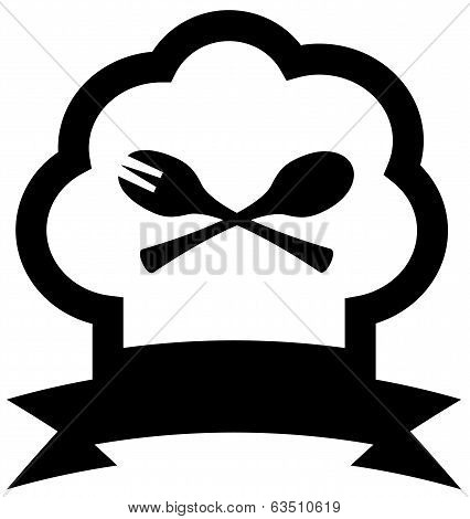chef hat icon with spoon and fork
