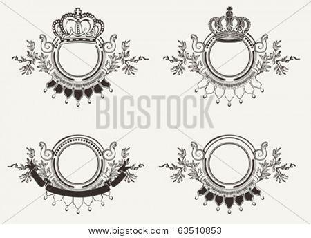 Set Of Vintage Ornate Crown Signs