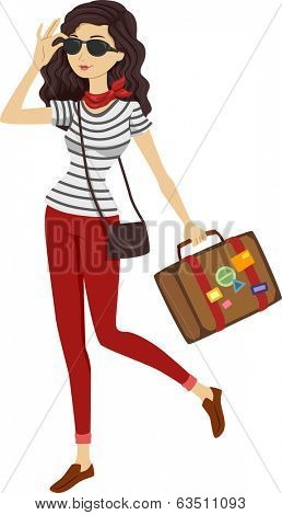 Illustration of a Woman in Stripes Carrying Vintage Luggage