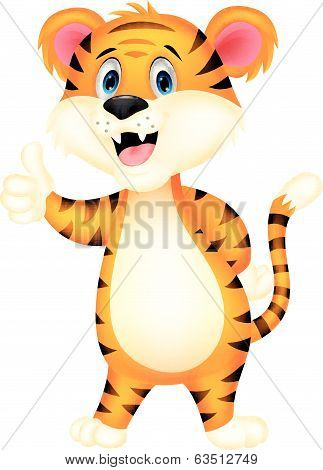 Cute tiger cartoon giving thumbs up