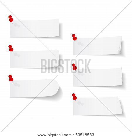 Blank White Papers With Push Pins