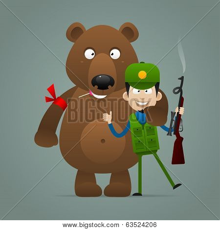 Illustration, concept bear holds hunter and smiling, format EPS 10 poster