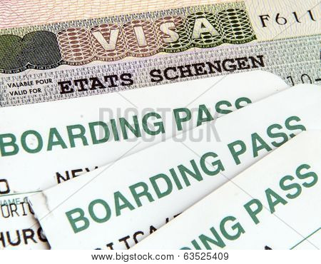 Schengen visa and air boarding passes
