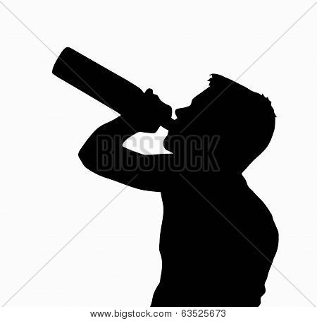 Teen Boy Silhouette Drinking Alcohol From Bottle