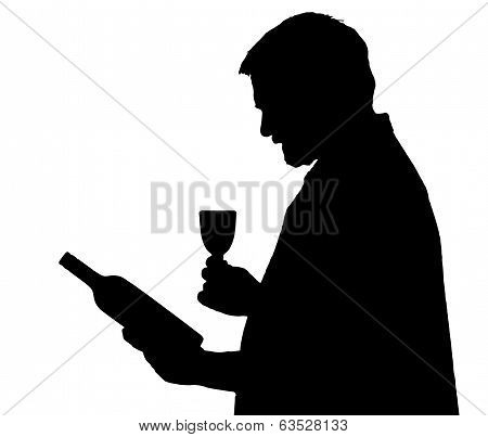 Man Silhouette Connoisseur Selecting Bottle Of Wine