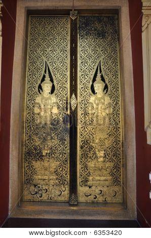 Thailand Ancient Mural Door Angel