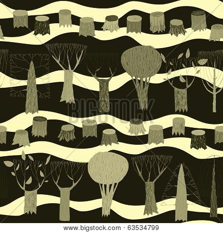 Trees Seamless Pattern Tapestry In Grey