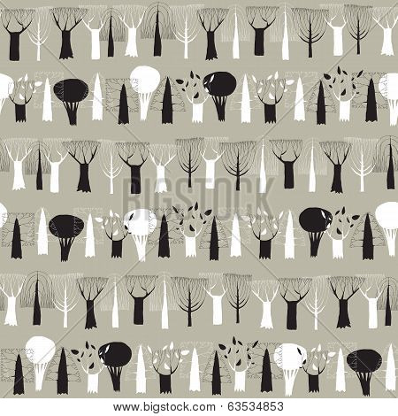 Trees Seamless Row Pattern Tapestry In Black And White