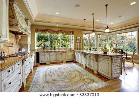 Luxury House Interior. Antique Kitchen Cabinets