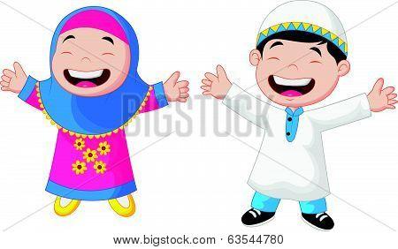 Happy Muslim kid cartoon