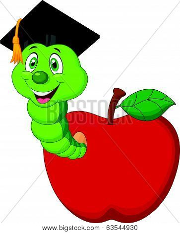 Worm cartoon wearing a raduation cap crawling out of an apple