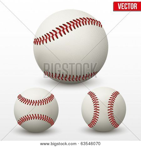 Set of baseball leather ball. Various sides. Vector.