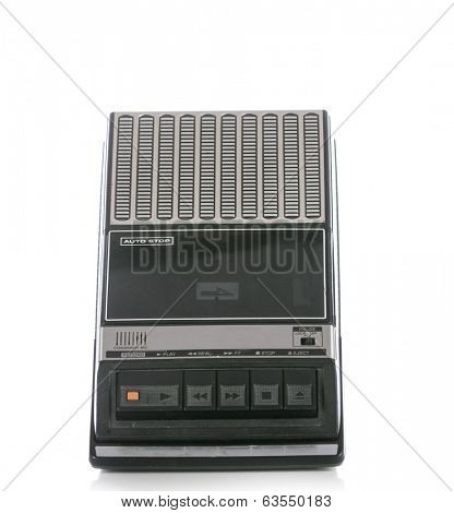 Retro Cassette Tape player and recorder isolated on a white