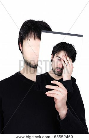 symbolic image of a man holding his face showing changes according to the mood and situation of what seems to be affordable to match the social context. poster