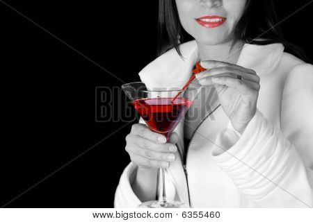 Red Lips And Cocktail