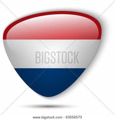 Vector - Netherlands Flag Glossy Button Icon poster