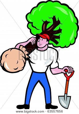 Gardener Arborist Carrying Tree Cartoon