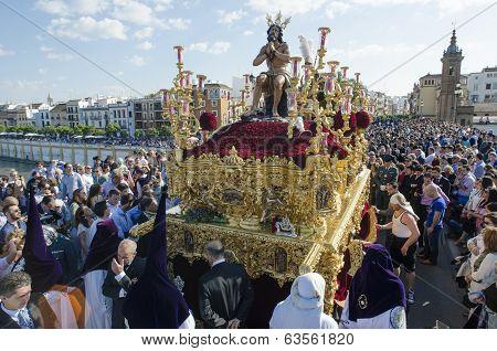 Seville. Spain - April 13: The Brotherhood Of