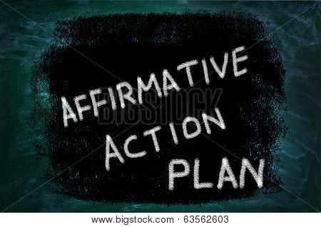 Affirmative Action Plan Words Written On Grunge Background