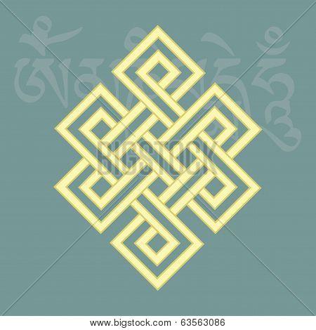 Endless Knot,one Of Eight Auspicious Buddhist Religious Symbols, Vector Illustration