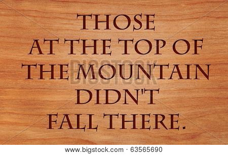 Those at the top of the mountain did not fall there - quote by unknown author on wooden red oak background