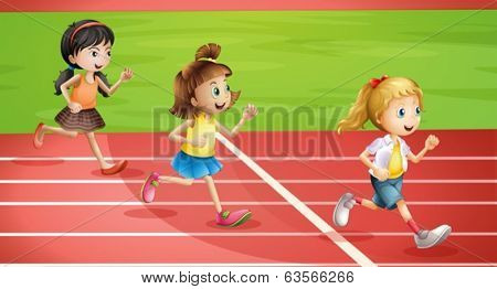 Illustration of the three kids jogging