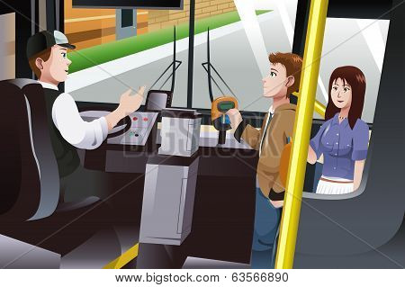 People Paying For Bus Fare
