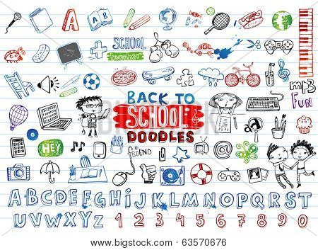 School doodles, vector set