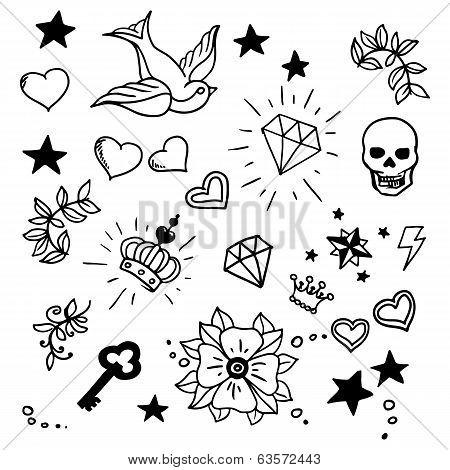 Swallow Bird Rose Flower Diamond Tattoo Images Illustrations