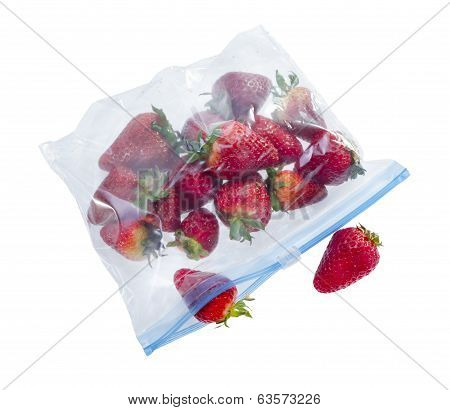 Strawberry In Clear Plastic zipper lock Bag