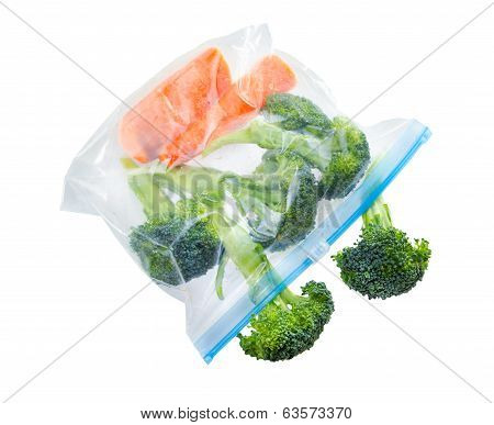 Vegetables In Clear Plastic Zipper Lock Bag