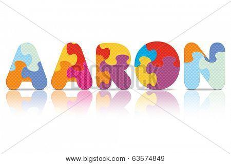 AARON written with alphabet puzzle - vector illustration