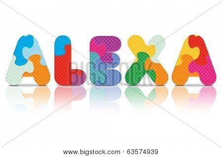 ALEXA written with alphabet puzzle - vector illustration