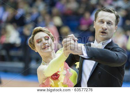 Minsk-belarus, March, 16: Sergey Domorad - Svetlana Domorad Perform Senior Standard European Program