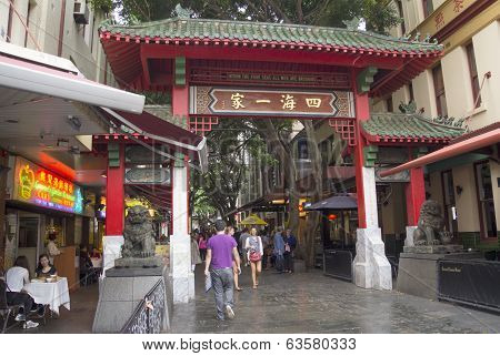Sydney, Australia-march 15Th 2013:: Chinatown Gate (paifang) On Dixon Street. Sydney Has The Largest