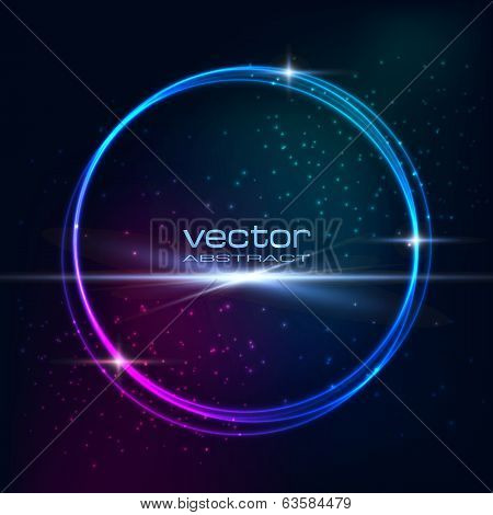 Blue purple light effects on round placeholder for your text on dark background poster