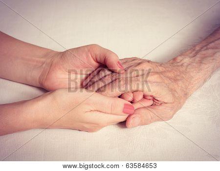 Hands elderly man.