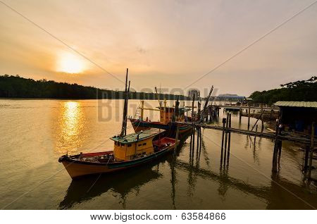 Silhouette Of Wooden Jetty At Sunset, Esplanade Kuantan