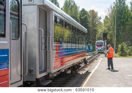 TU10-011 locomotive on Children's railroad. Russia