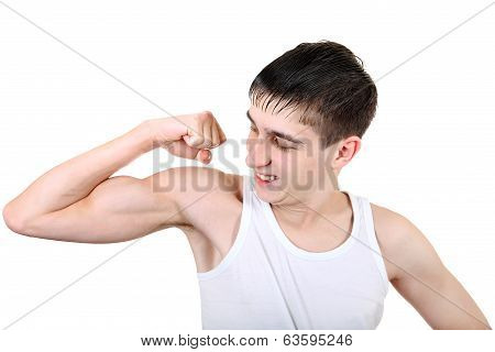 Handsome Teenager Muscle flexing Isolated on the White Background poster